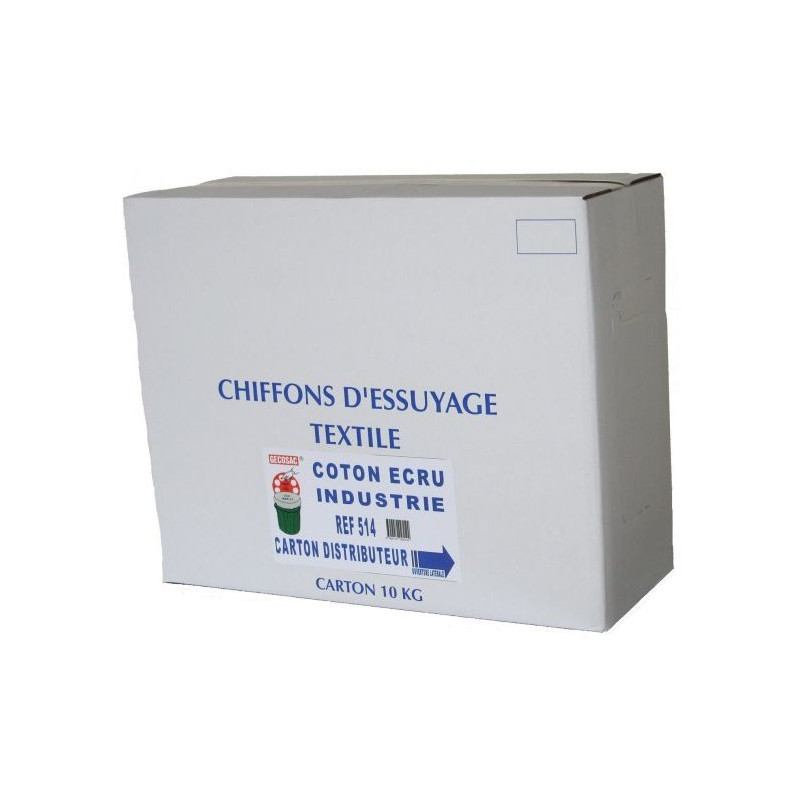Carton distributeur de 10 kg chiffon coton blanc GECOSAC