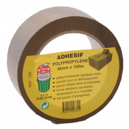 Adhesif polypropylène 48 mm x 100 m havane par 6