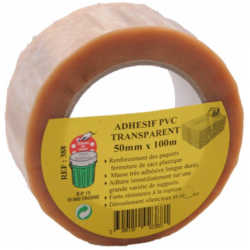 Adhesif pvc 50 mm x 100 m transparent GECOSAC