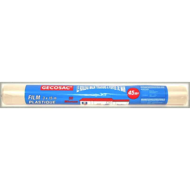 Rouleau film plastique 3x15m, 50 microns translucide GECOSAC